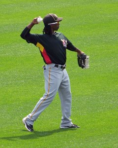 Pirates OF Andrew McCutchen warms up before an exhibition game between the Pirates and Philadelphia Phillies at Citizens Bank Ballpark in 2010 (Photo credit: Paul Hadsall)