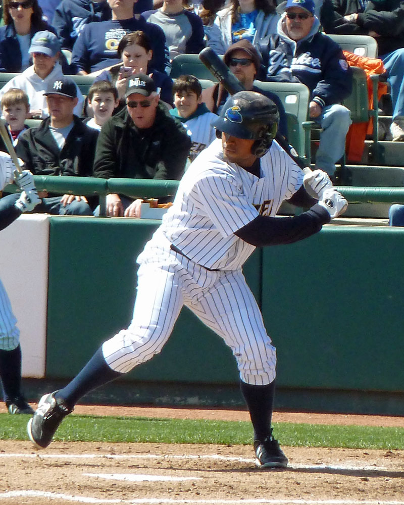Zoilo Almonte plays for the Trenton Thunder in 2012