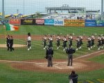 FDNY bagpipers perform during a pre-game ceremony