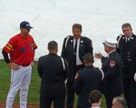 Brooklyn Cyclones reliever Beck Wheeler talks to FDNY dignitaries on hand for a pre-game ceremony