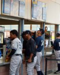 Several Staten Island Yankees players buy dinner at the concession stand