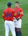 Brooklyn pitcher Luis Mateo and catcher Kevin Plawecki discuss their game plan before warming up