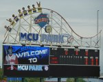 The scoreboard at MCU Park