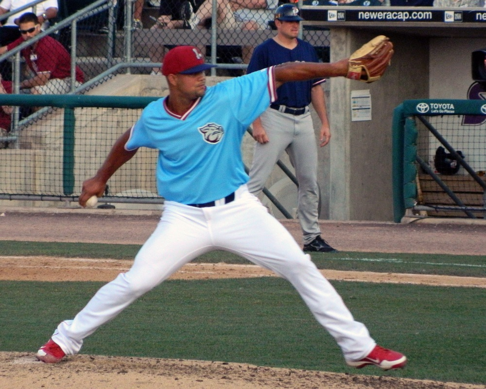 Luis Garcia pitches for the Lehigh Valley Iron Pigs on July 8, 2013 (Photo credit: Paul Hadsall)