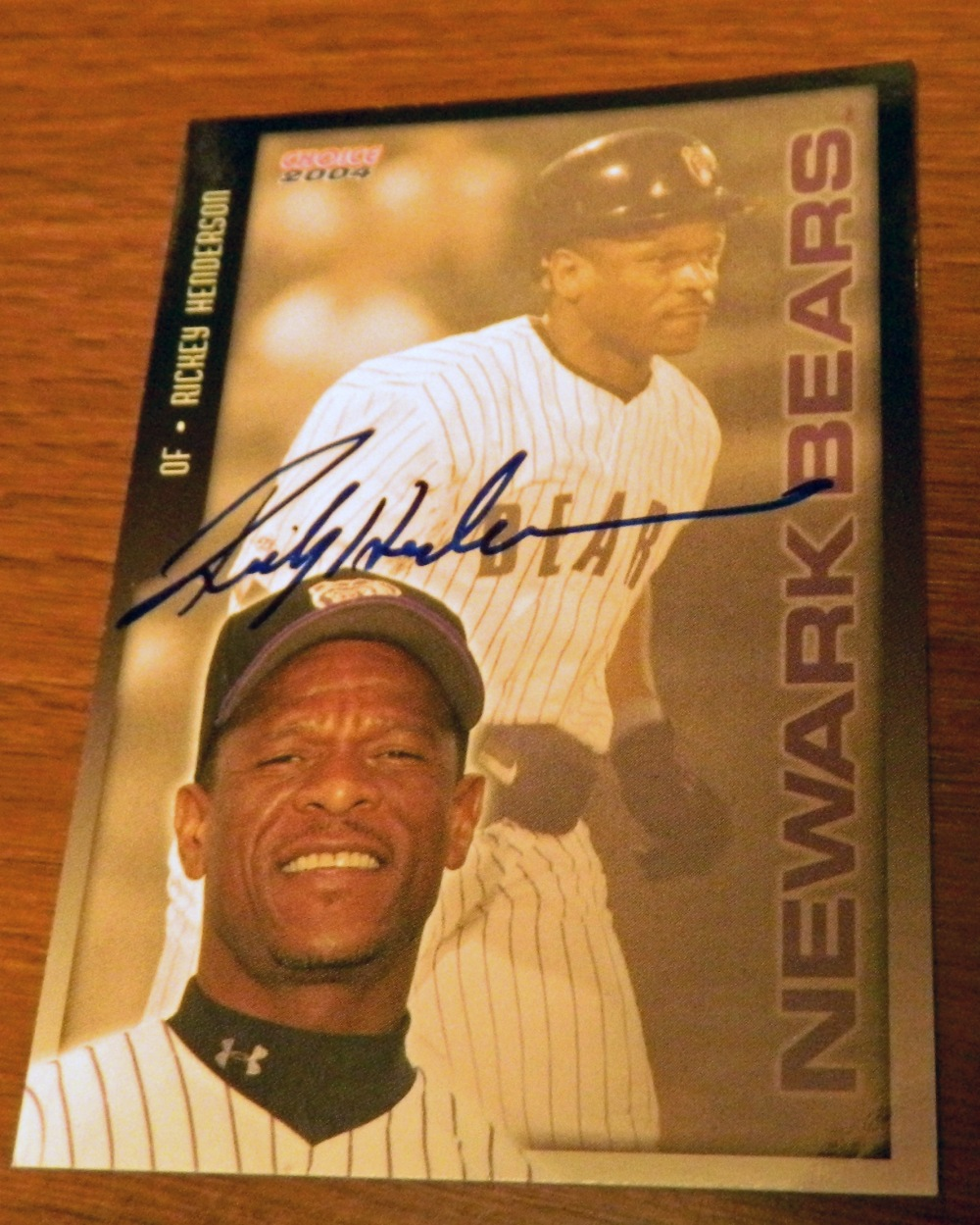 Signed Rickey Henderson 2004 Newark Bears minor league baseball card from my collection