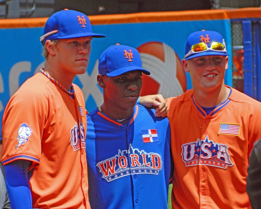The New York Mets have the sixth best farm system in baseball, according to ESPN's Keith Law. Three of their top prospects, Noah Syndergaard, Rafael Montero and Brandon Nimmo, are pictured above at the 2013 All-Star Futures Game at Citi Field (Photo credit: Paul Hadsall)