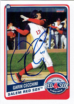 Autographed Garin Cecchini 2013 Salem Red Sox team set card from my collection