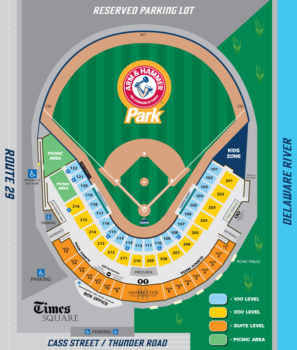 Arm & Hammer Park seating diagram for 2014 (Trenton Thunder graphic)