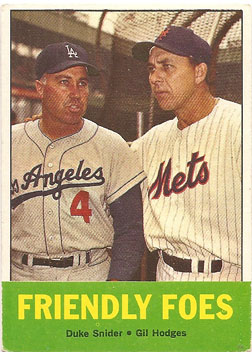 "1963 Topps ""Friendly Foes"" baseball card from my collection"
