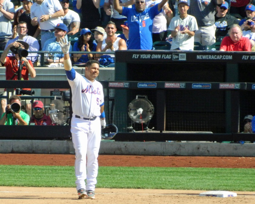 Bobby Abreu waves a farewell to the fans at Citi Field after his 2,470th and final major league hit on Sunday. Sept. 28, 2014. (Photo credit: Paul Hadsall)