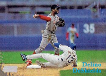 Edgardo Alfonzo makes a cameo appearance on Delino DeShields' 1998 Topps Stadium Club baseball card