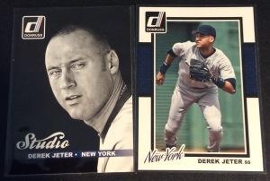 A pair of 2014 Donruss Derek Jeter baseball cards