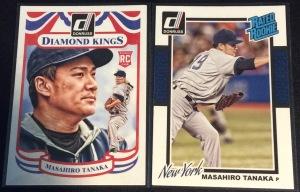 A pair of 2014 Donruss Masahiro Tanaka baseball cards