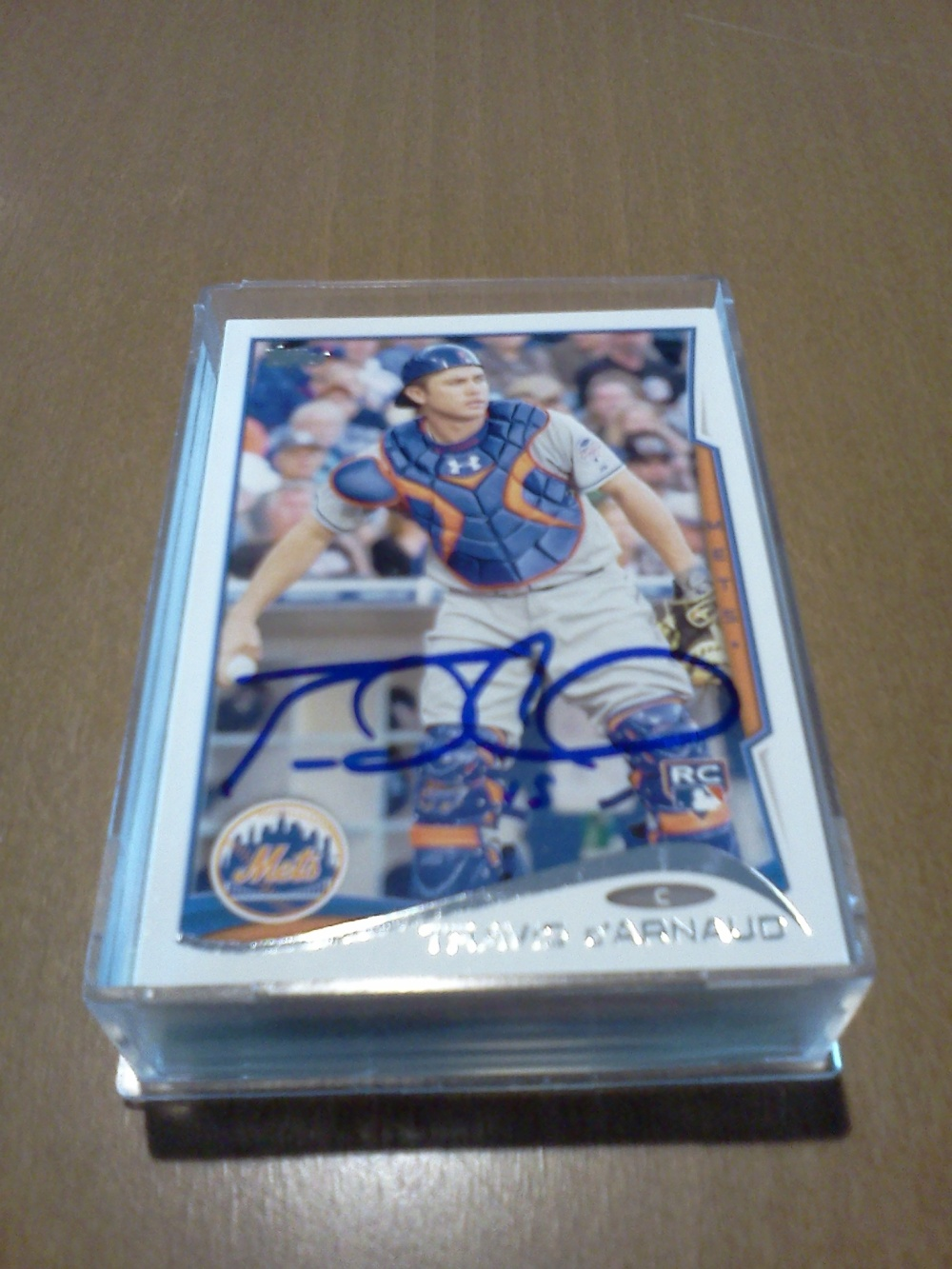 My autographed Travis d'Arnaud 2014 Topps baseball card