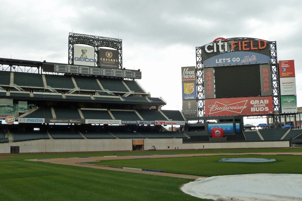 This photo, taken during a tour of Citi Field in December 2011, shows the work in progress on the current outfield walls in left and left-center field. The Mets are expected to change the dimensions in right and right-center field this offseason. (Photo credit: Paul Hadsall)