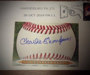 Autograph Card signed by Charlie Thompson, obtained via mail