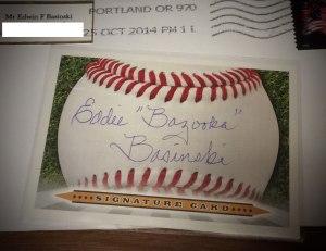 "Autograph card signed by Eddie ""Bazooka"" Basinski, obtained through the mail"
