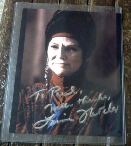 Autographed photo of Louise Fletcher as Kai Winn, obtained at Chiller Theatre's Halloween Show.