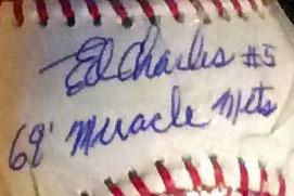 Ed Charles signed baseball