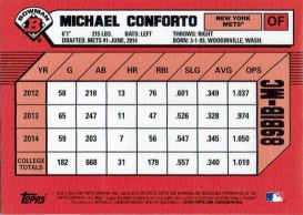 "The back of Michael Conforto's 2014 ""1989 Bowman is Back"" baseball card"