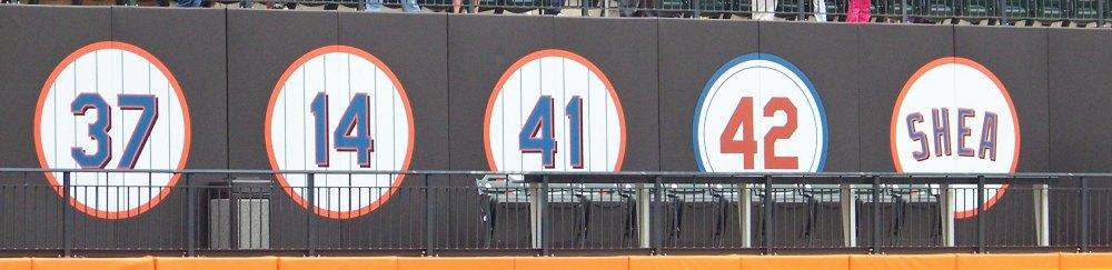 Citi Field's retired uniform numbers (Photo credit: Paul Hadsall)