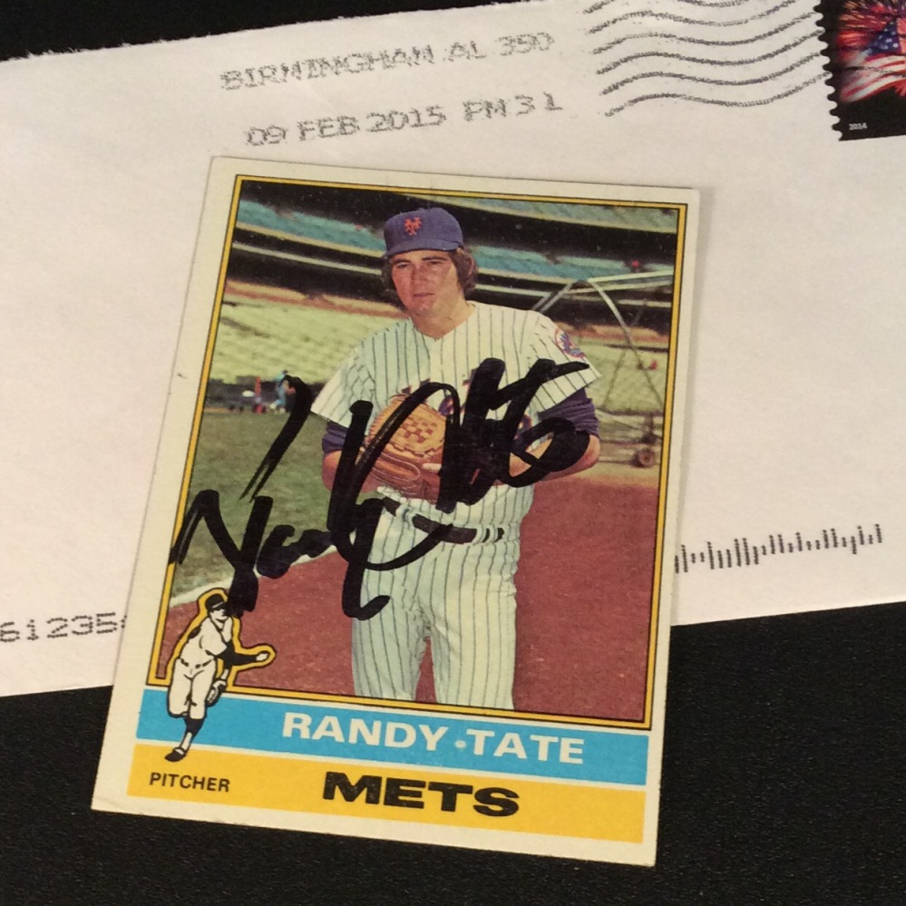 Signed Randy Tate 1976 Topps baseball card from my collection