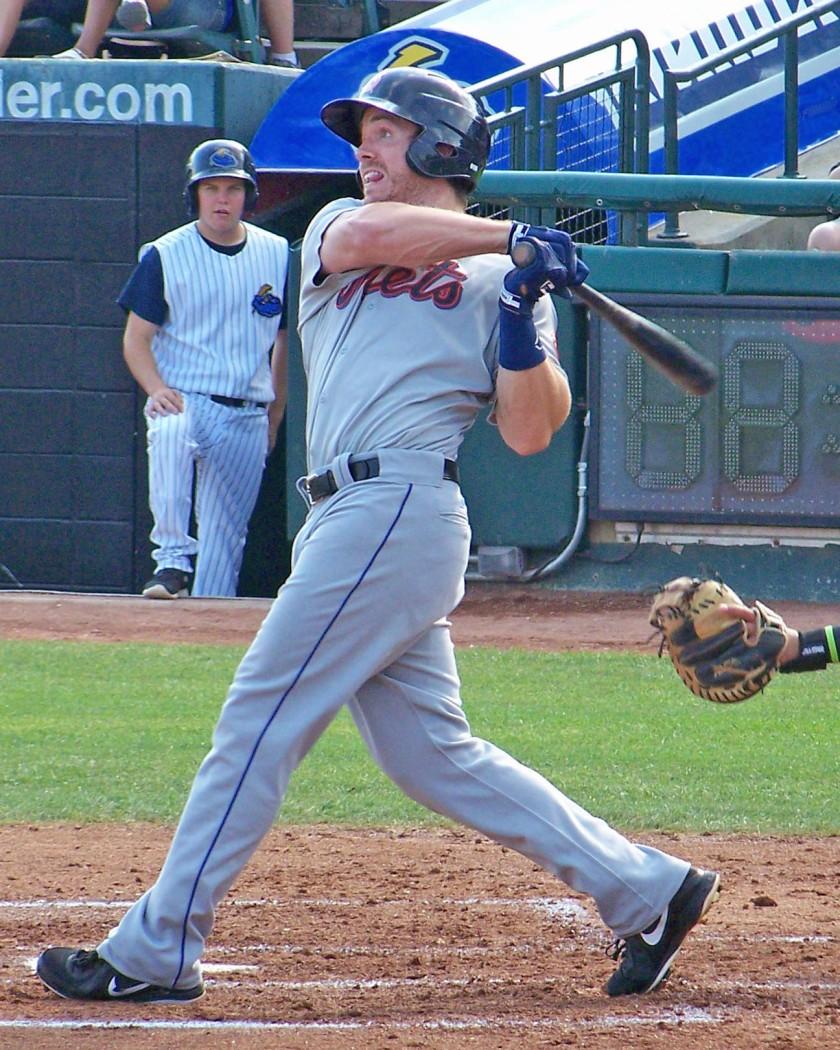 Binghamton Mets outfielder Joe Benson hit a three-run homer on Sunday (Photo credit: Paul Hadsall)
