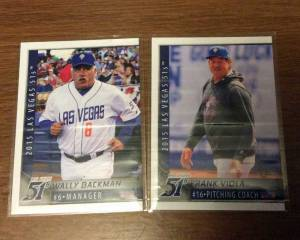 Wally Backman and Frank Viola's 2015 Las Vegas 51s baseball cards