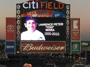 The New York Mets honored the memory of their former manager Yogi Berra before Wednesday night's game. Berra, a Hall of Fame catcher for the New York Yankees, died Tuesday at the age of 90. (Photo credit: Vinny Haynes)
