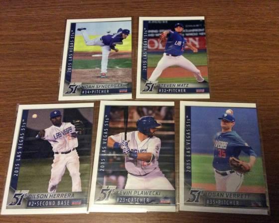2015 Las Vegas 51s baseball cards for Noah Syndergaard, Steven Matz, Dilson Herrera, Kevin Plawecki and Logan Verrett