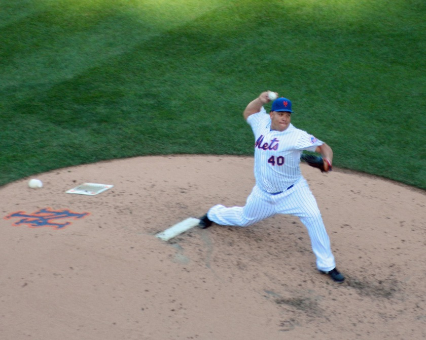 Bartolo Colon pitched an inning in relief against the Washington Nationals on Oct. 4, 2015. If Mets rookie Steven Matz is healthy, Colon will work out of the bullpen in the playoffs. (Photo credit: Paul Hadsall)