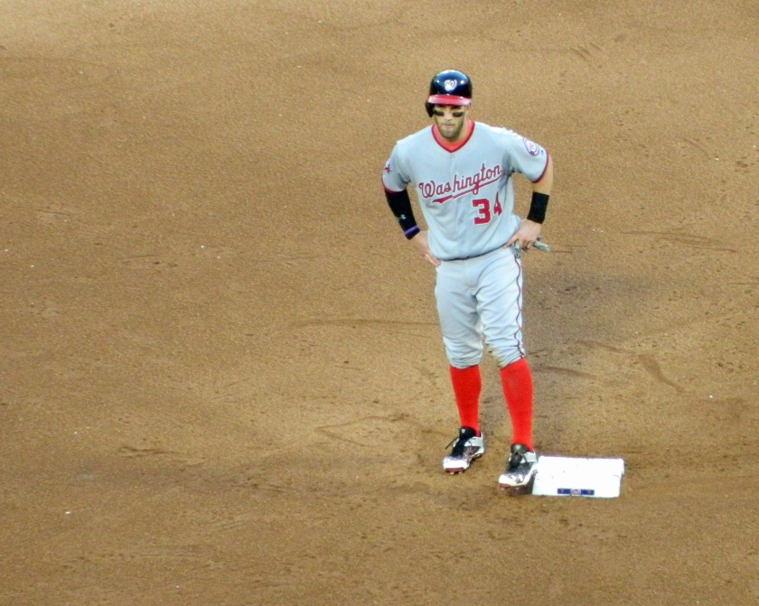 Washington Nationals outfielder Bryce Harper waits for the results of a replay review after his ninth inning double off of Mets reliever Jeurys Familia on Oct. 4, 2015 (Photo credit: Paul Hadsall)
