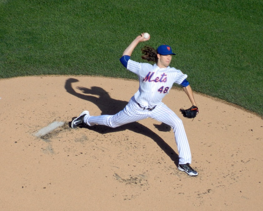 Jacob deGrom pitched four hitless innings against the Washington Nationals on Oct. 4, 2015 (Photo credit: Paul Hadsall)