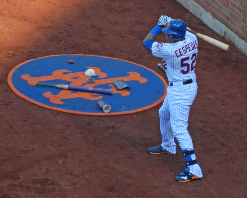 Yoenis Cespedes waits in the on-deck circle (Photo credit: Paul Hadsall)