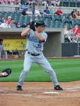 Jeremy Owens bats for the Southern Maryland Blue Crabs during their inaugural season (Photo credit: Paul Hadsall)