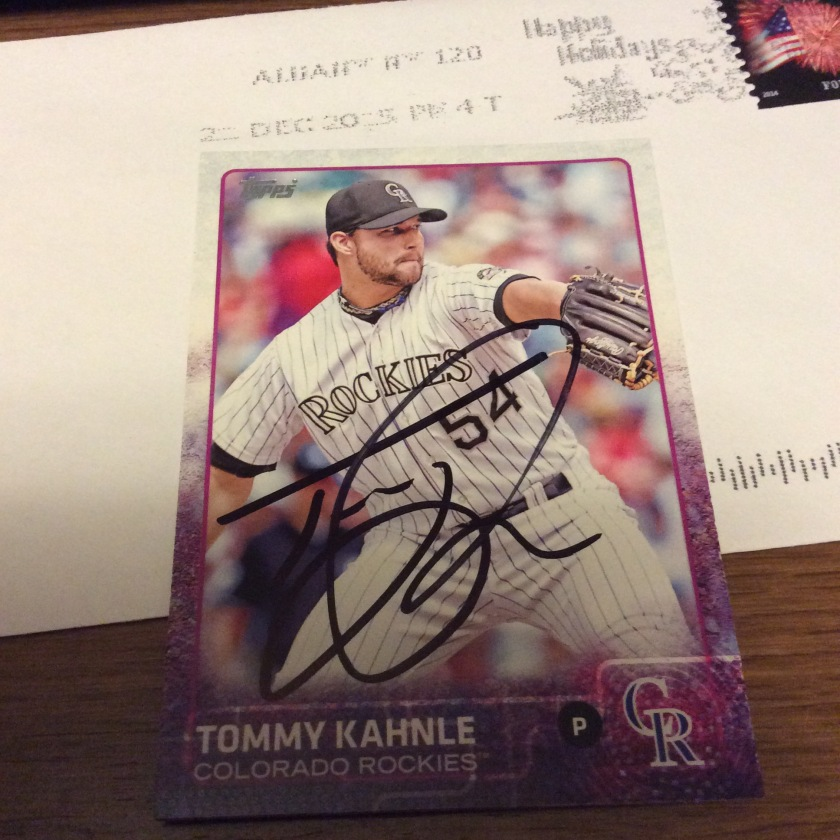 Tommy Kahnle signed 2015 Topps baseball card from my collection